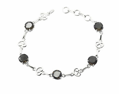Brown 925 Solid Sterling Silver Natural grand Smoky Quartz generally Bracelet AU