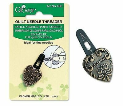 Clover Sewing & Quilting Needle Threader - Fine Needles In Antique Gold - Cl466