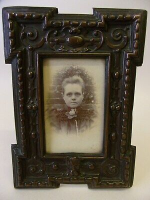 Antique Victorian Arts & Crafts Green Man Repousse Coppered Metal Photo Frame