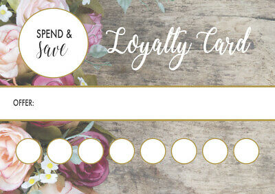 50 x Loyalty card client reward offer Card manicure pedicure gel nail technician