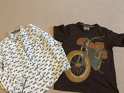 2x Boys Clothes Top Shirt Bundle 6-8 Years - Scooter Bike Theme VGC (Monsoon)