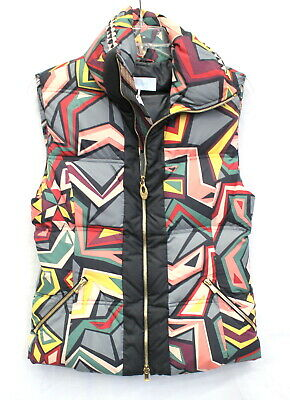 $1095 EMILIO PUCCI Black Pink Grey Yellow Geometic Puffer Goose Down Vest Jacket