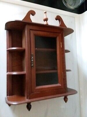 Vintage Wooden Curio Cabinet for miniatures Table or Wall Mount w/glass door