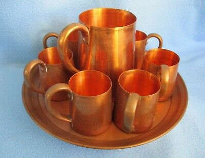 Vintage West Bend Aluminum Co. Solid Copper 8 Piece Beverage Set