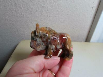 Buffalo (Bison), Hand carved Marble from the Andes. Multi Color Stone Buffalo