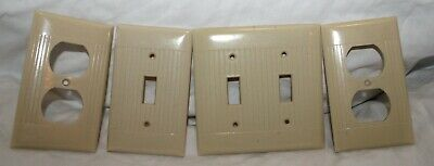 Vintage Sierra Lot Of 4 Ivory Ribbed Light Switch Outlet Plate Covers Made Usa