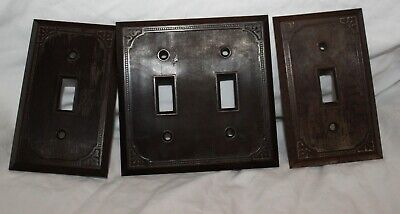 Vintage Lot Of 3 Ornate Made In Usa Plastic Light Switch Outlet Plate Covers
