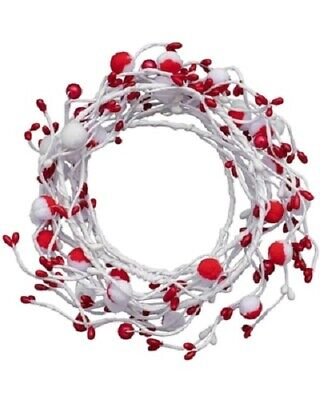 Ashland Coiled Garland Red White Soft Pom Pom Berries 5 ft Party New