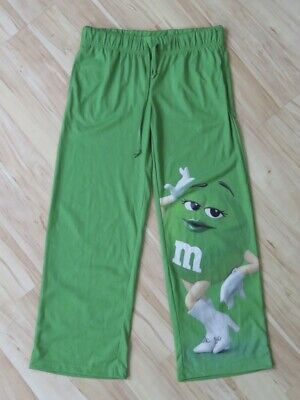 New Women's M&M World Green Big Face Candy Lounge Pajama Pants Size Small