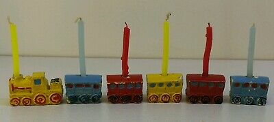 Vintage Pot Steam train Carriages Candle Holders With Original Vtg Candles