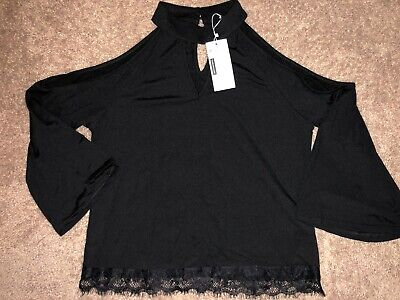 Womens New Nwt Cotton Polyester Solid Black Top Shirt Lace Trim Aceshion Medium
