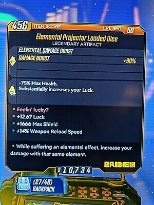 Borderlands 3 Elemental Projector Loaded Dice (+Luck) Xbox One