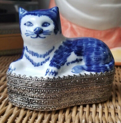 Blue and White Porcelain China Cat on Top of Silver TRINKET Box
