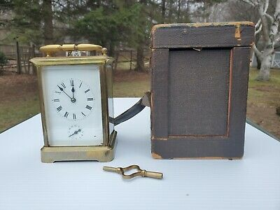 Super French antique repeater carriage clock sonnerie with case and key