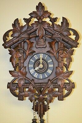ANTIQUE GERMAN BLACK FOREST RARE LEAF MOTIF CUCKOO CLOCK EARLY 1900's