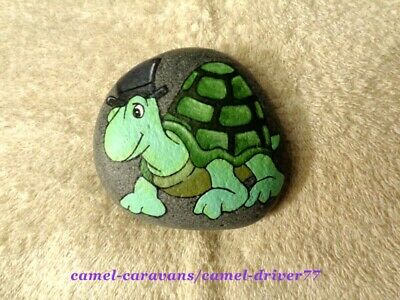Hand Painted Original Beach Rock Art Happy Green Turtle Shell