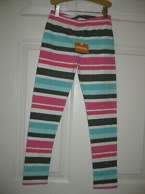 Gymboree Girls Leggings size M 7 8 7/8 Pink Blue Gray Striped Pull on New NWT