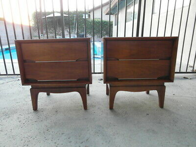 Rare Pair 1960S Mcm Mid Century Modern Night Stand End Table Drawers Kent Coffey