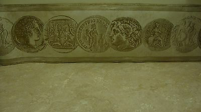 Greek Roman Coins Empire Silver Marbled Faux Wood Emperor Wallpaper Wall Border