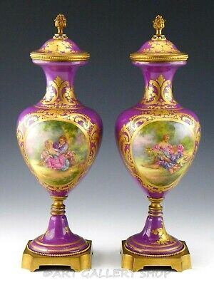 """Antique France SEVRES STYLE COURTING COUPLE 13.5"""" VASES URNS PAIR Artist Bombois"""
