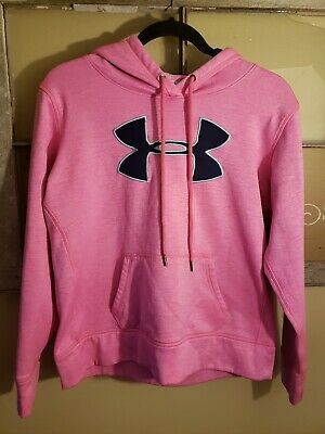 Pink and navy blue Youth Medium Girls Pink YMD Under Armour Hoodie Big Logo