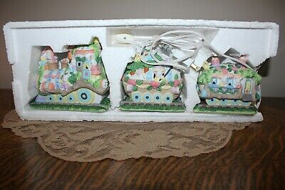 Porcelain Lighted EASTER TRAIN  3 Car  Bunny Chicks Eggs PASTELS (1 Cord 3 bulb