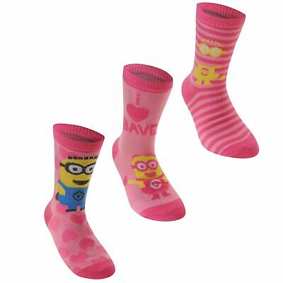 Despicable Me Minons Crew Socks Childs Girls Pink/Yellow Character Sock