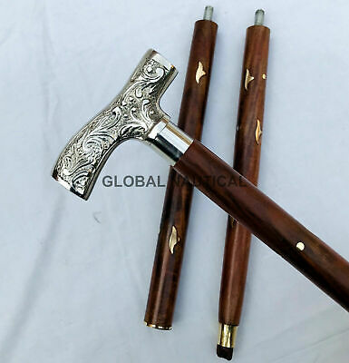 Victorian Solid brass Derby Head handle Antique Style wooden walking stick Canes