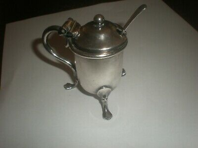 Antique James Deacon & Son Silverplate Lidded Mustard Pot with Spoon c.1898