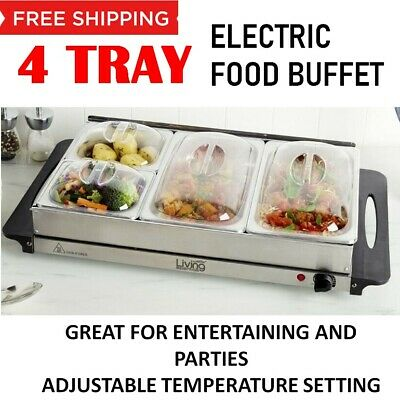 Electric Buffet Food Warmer Server 4 Tray Large Bain Marie Stainless Steel New