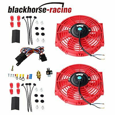"""2X 10/"""" Electric Radiator Cooling Fan w// Thermostat Relay /& Mounting Kit Black"""