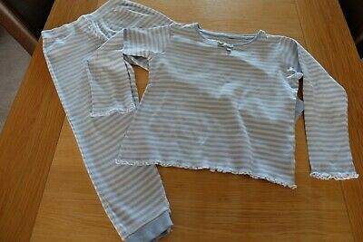 Next Girls Blue and White Striped PJs  Size 8 yrs