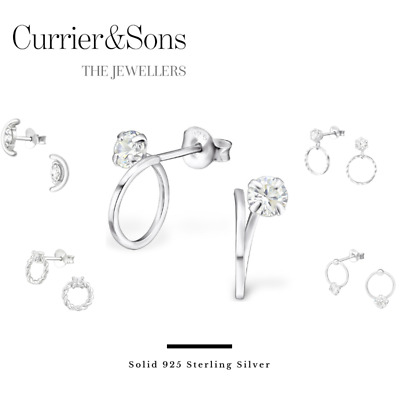 925 Sterling Silver Circle with Cubic Zirconia Design Stud Earrings