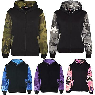 Boys Girls Jackets Kids Fleece Camouflage Hooded Hoodie Zipped Top Jacket 7-13 Y
