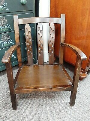 Antique Arts & Crafts Childs Wooden Armchair