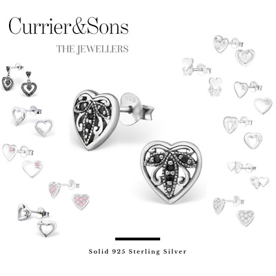 925 Sterling Silver Heart with Cubic Zirconia Design Stud Earrings
