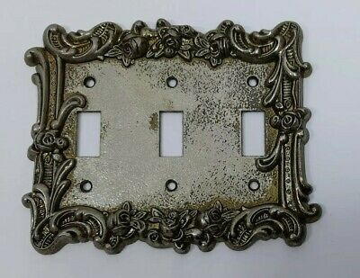 Vintage Brass Floral Patina 3 Toggle Light Switch Plate Antique Brass Cover