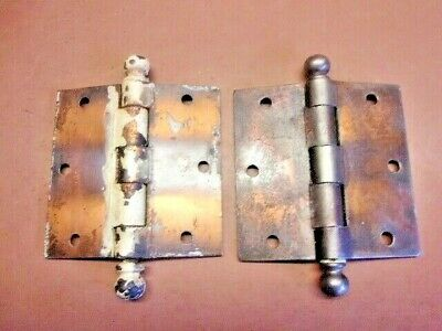 """Used Pair of STANLEY SWEETHEART Brass Flashed Cannonball Hinges 3 1/2"""" x 3 1/2"""""""