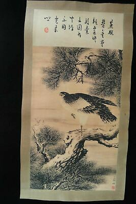"Rare Large Chinese Paper Painting Eagle and Pine Tree ""ZouYiGui"" Marks"