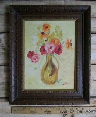 Vintage Hand Painted Oil Wood Framed Painting Floral Flowers in Vase Still Life