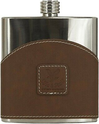 Lyle & Scott Brown Leather Covered Stainless Steel Hip Flask