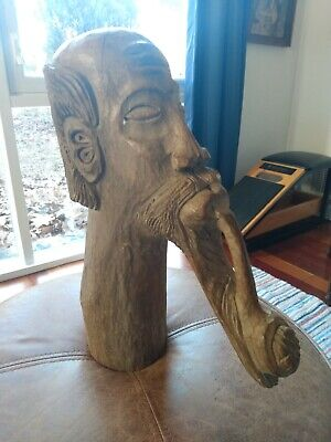 Folk Art Carved Wooden Head/Stanley/Outsider Art/Wood/Man with Pipe/Unique/Rare