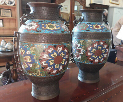 Pair Of 19th Century Chinese Bronze Vases With Cloisonné Enamel Decoration