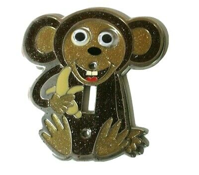 Vintage Child Theme Switch Plate Cover- Monkey with Banana Glitter Brown & Gold