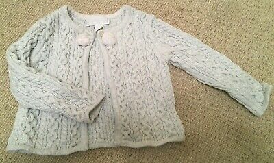 THE LITTLE WHITE COMPANY girls cardigan with pom poms SIZE 9-12 months