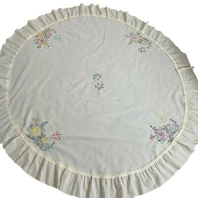 "Ivory Round 72"" Tablecloth Embroidered Flowers Birds Vintage Ruffle"