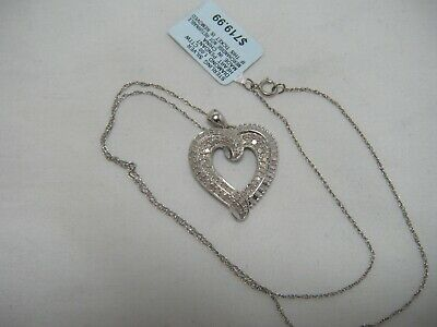 Sterling Silver 1 Ct Diamond Pave HEART Pendant Necklace