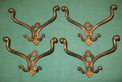 "Lot Of 4 Vintage Antique 8"" Hooks Pat. Date 1908, Coat, Halltree, Mirror"