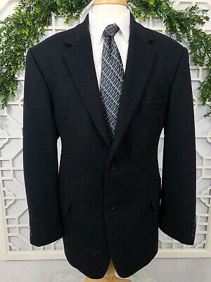 Gianfranco Ruffini Mens 46L Black Cashmere Blend 2 Button Blazer Sport Coat