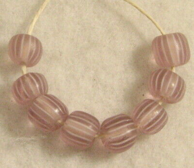 8 Old Antique Venetian Pale Pink GOOSEBERRY Glass African Trade Beads